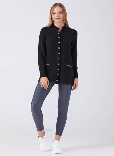 Sementa Kadın Yarım Boğazlı Düğmeli Cepli Triko Ceket - Siyah Siyah